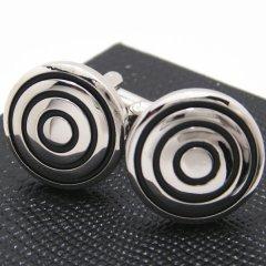 和の魅力☆黒い三重円の丸型カフス(カフリンクス/カフスボタン)