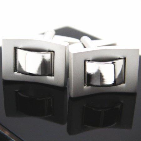 大人気デザイン!二種のシルバースクゥエアカフス(カフリンクス/カフスボタン)