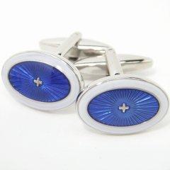 マリンブルー×スノーホワイトのオーバル型カフス(カフリンクス/カフスボタン)