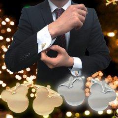 全2色・袖元に魔法の王国をミッキーマウスのカフス(カフリンクス/カフスボタン)