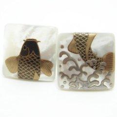 【受注生産品】鯉の滝登りの蒔絵カフス(カフリンクス/カフスボタン)