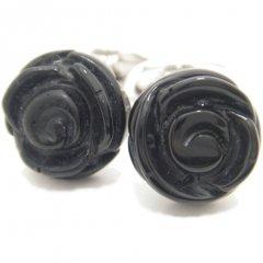 【取寄品】【JanLeslie】ブラックオニキスの薔薇カフス(カフリンクス/カフスボタン)