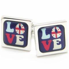 【SoniaSpencer】カラフルな英国LOVEのカフス(カフリンクス/カフスボタン)