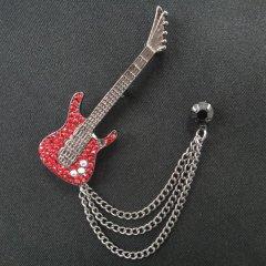 ラペルピン・きらきら真っ赤なギター×ブラックストーンのラペルブローチ