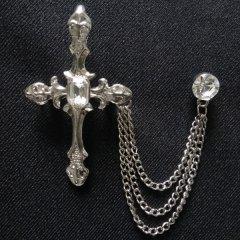 ラペルピン・キラっと十字架のラペルブローチ