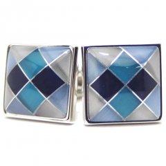 ダイヤ柄青のカフス(カフリンクス/カフスボタン)