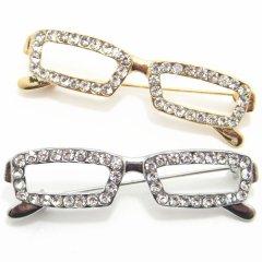 全2色・ラペルピン・きらきらゴージャス眼鏡のブローチ