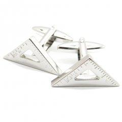 ミニだけど測れちゃうセンチとインチの三角定規のカフス(カフリンクス/カフスボタン)