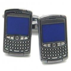 メタリックブラックの携帯電話カフス(カフリンクス/カフスボタン)