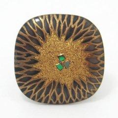 菊・黒蝶貝タイタック(ピンブローチ)