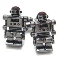 今にも動き出しそうなメタリックブラックのロボットカフス(カフリンクス/カフスボタン)