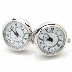 ローマ数字のラウンド時計カフス(カフリンクス/カフスボタン)