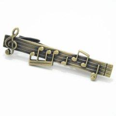 アンティーク風ゴールド楽しい楽譜のタイピン(ネクタイピン)