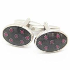 グレー×ピンクと水玉×ウェーブストライプのカフス(カフリンクス/カフスボタン)