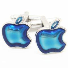 ブルーのアップルマークのカフス(カフリンクス/カフスボタン)