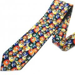面白ネクタイ◆賑やかビリヤード・ボールのコミックネクタイ