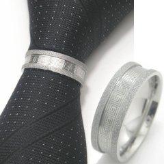 名入れ刻印サービス対象/ネクタイリング ◆ラメ×スパイラル・デザインのタイリング