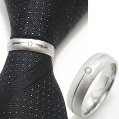 名入れ刻印サービス対象/ネクタイリング ◆マットシルバー×一粒クリスタルのタイリング