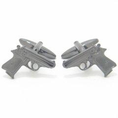 メタリックブラックな拳銃のカフス(カフスボタン/カフリンクス)
