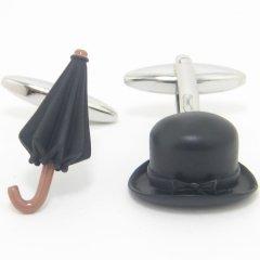 英国紳士の様な帽子と傘のカフス(カフリンクス/カフスボタン)
