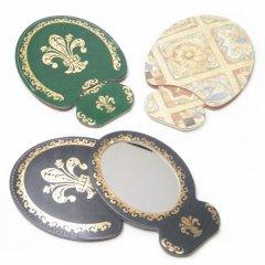 全3色・ハンドミラー◆ゴールド・フルール・ド・リスのポケット手鏡
