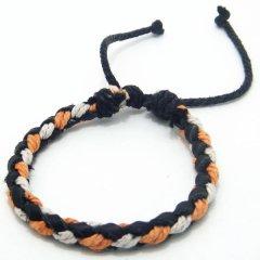 ブレスレット◆オレンジ×ホワイト×黒革のブレスレット