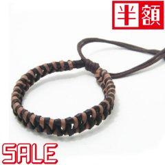 在庫処分セール半額・ブレスレット◆ブラウン×ベージュ編み込み革のブレスレット