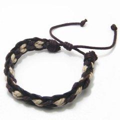 ブレスレット◆ブラウン×ベージュ三つ編み込み革のブレスレット