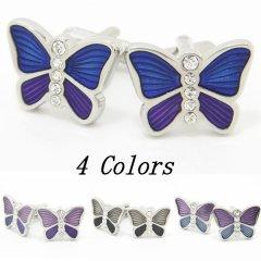 全4色・キラキラ蝶々カラフルエナメルのカフス(カフリンクス/カフスボタン)
