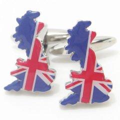 グレートブリテン島シルエットのイギリス国旗カフス(カフリンクス/カフスボタン)