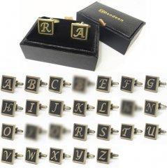 全24種・アンティーク風ブロンズカラー・アルファベットカフス(バラ売り)(カフリンクス/カフスボタン)