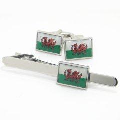 ウェールズ国旗ドラゴンマークのカフスセット(タイピンセット)