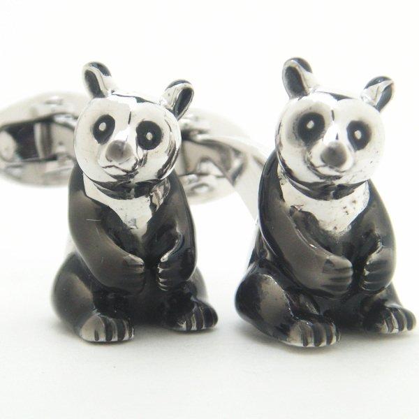 【JanLeslie】小首を傾げるキュートなパンダのカフス(カフリンクス/カフスボタン)