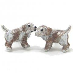 【JanLeslie】愛くるしい表情で甘える子犬のカフス(カフリンクス/カフスボタン)