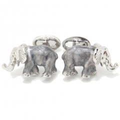 【JanLeslie】パールグレーのラッキー鼻上げ象のカフス(カフリンクス/カフスボタン)