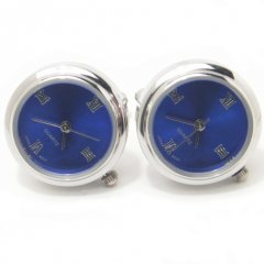【JanLeslie】ブルー・ラウンド時計のカフス(カフリンクス/カフスボタン)