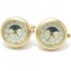 【JanLeslie】ゴールド・ラウンド時計のカフス(カフリンクス/カフスボタン)