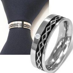 名入れ刻印サービス対象/ネクタイリング◆一粒ストーンとブラック・ダイヤ・ラインのタイリング