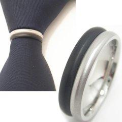 名入れ刻印サービス対象/ネクタイリング◆モノトーン・ハーフ・デザインのタイリング