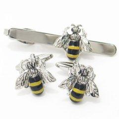 あっ、ハチが止まってるよ〜!!ブンブン蜜蜂のカフスセット(タイピンセット)