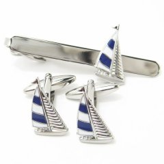 マリンブルーと白のヨットのカフスセット(タイピンセット)