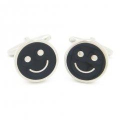 いつも心に微笑みを!ブラック・スマイルマークのカフス(カフリンクス/カフスボタン)