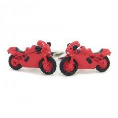 元気にかっ飛ばせ!赤色のオートバイのカフス(カフリンクス/カフスボタン)