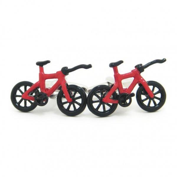 どこでもサイクリング!!真っ赤なマウンテンバイクのカフス(カフリンクス/カフスボタン)
