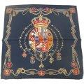 【Salvatore Argenio】ポケットチーフ・王冠とナポリの紋章・ネイビーのポケットスクウェア