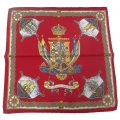 【Salvatore Argenio】ポケットチーフ・帆船と王冠とナポリの紋章・レッドのポケットスクウェア