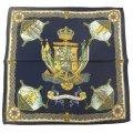 【Salvatore Argenio】ポケットチーフ・帆船と王冠とナポリの紋章・ネイビーのポケットスクウェア