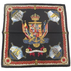 【Salvatore Argenio】ポケットチーフ・帆船と王冠とナポリの紋章・ブラックのポケットスクウェア