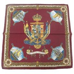 【Salvatore Argenio】ポケットチーフ・帆船と王冠とナポリの紋章・バーガンディのポケットスクウェア