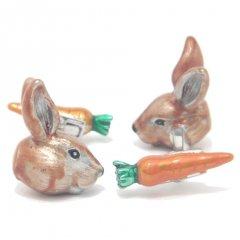 【JanLeslie】にんじんを隠し持ってるウサギのカフス(カフリンクス/カフスボタン)